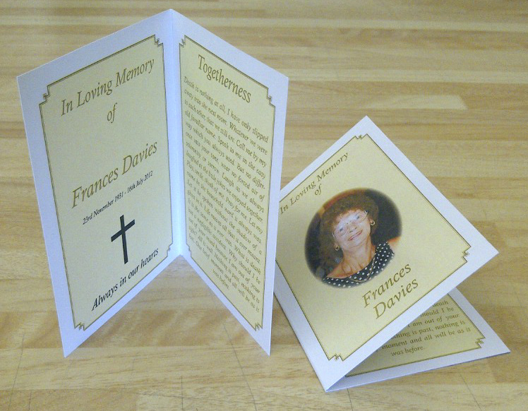 Printed Memorial Cards - Speedprint Funeral Booklets