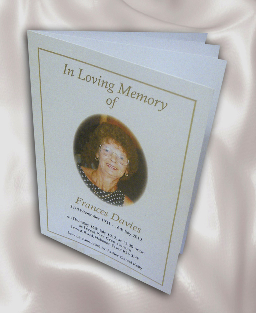 Order of Service Printing for Funeral and Memorial Services